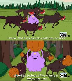 "Lumpy Space Princess gets raised by wolves in ""The Monster"" episode. Watch Adventure Time, Adventure Time Quotes, Cartoon Network Adventure Time, Adventure Time Anime, Mordecai Y Rigby, Adveture Time, Land Of Ooo, Lumpy Space Princess, Finn The Human"