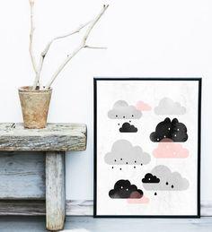 Wolken afdrukken, Abstract Art Print, afdrukbare Art, Scandinavische Design, minimalistische Art, Scandinavische Design, abstracte kunst aan de muur, roze, grijs