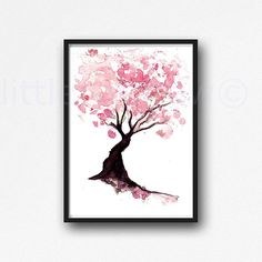 Pink Cherry Blossom Tree Print Watercolor Wall Art Print Home Decor Floral Art Giclee Print PRINT on ART PAPER