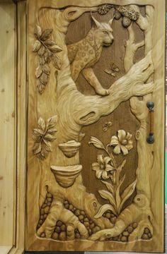 """Дверь резная """"Лесная сказка"""" -  резьба по дереву, деревянная дверь"""