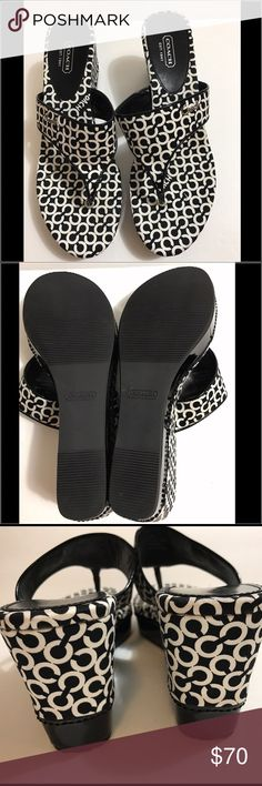 """NWOT Coach Felecia Wedge Sandals NWOT Coach Felecia Wedge Sandals.  Black/white with silver """"Coach"""" on side.  3"""" wedge heel.  Perfect condition, never worn. Coach Shoes Wedges"""