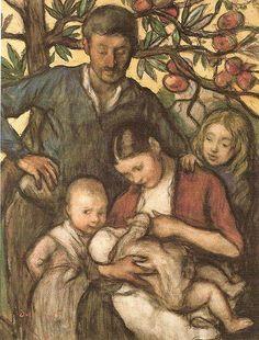 La famille Jakob Smits, entre 1880 et 1928 Aquarelle (?) Musée Jakob Smits, Mol, Belgique
