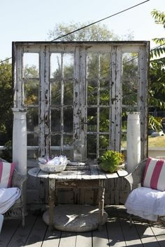 Dishfunctional Designs: New Takes On Old Doors: Salvaged Doors Repurposed Old French Doors, Old Doors, Outdoor Rooms, Outdoor Gardens, Outdoor Living, Outdoor Seating, Bar Seating, Old Windows, Windows And Doors