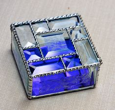 Exquisite Stained Glass Beveled Jewelry Box by StainedGlassbyJean