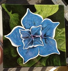 Painted pottery tile /flower