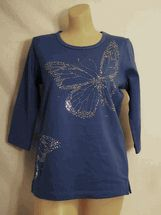 Christine Alexander Silver aurora butterflies on Persian blue shirt size S to XL and 1x to 3x