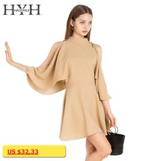HYH HAOYIHUI Women Dress Solid Cold Shoulder Crew Neck Batwing Sleeve Mini Dress Casual Elegant Ruffle High Waist A-line Dress