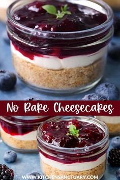 Ready in 15 minutes, these individual blueberry and blackberry no bake cheesecakes are a great Valentine's Day dessert or portable dessert option! #cheesecake #nobakecheesecake #individualcheesecake #blueberry #blackberry #nobake #easydessert #picnic #dessert #partydessert #glutenfreecheesecake Picnic Desserts, Parfait Desserts, Picnic Foods, Easy Desserts, Delicious Desserts, Picnic Recipes, Gluten Free Cheesecake, No Bake Cheesecake, Raspberry Cheesecake
