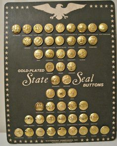 Waterbury State Seal Buttons Gold Plated 50 States