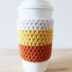 Ravelry: Candy Corn Coffee Cozy pattern by Colour and Cotton