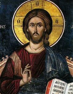 """Orthodox icon of our Lord Jesus Christ """"Enthrone"""" icon of 14 cent. Monastery of Dionysiou, Mount Athos Greece NOTICE: the sizes of the icon are approximately Christian Artwork, Christian Images, Byzantine Icons, Byzantine Art, Religious Icons, Religious Art, Christ Pantocrator, Jesus Painting, Religion"""
