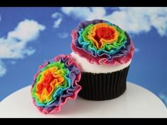 Rainbow Ruffle Flowers! Learn how to make these using our FREE online video tutorials.  Visit YouTube channel MyCupcakeAddiction for these and lots more cupcake and cakepop decorating tutorials!