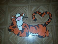 Tigger hama perler beads by tigrounette Hama Beads Design, Diy Perler Beads, Hama Beads Patterns, Beading Patterns, Melty Bead Designs, Pearl Crafts, Perler Bead Disney, Peler Beads, Iron Beads