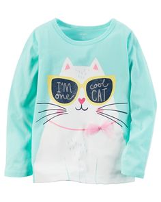 Baby Girl Long-Sleeve One Cool Cat Graphic Tee from Carters.com. Shop clothing & accessories from a trusted name in kids, toddlers, and baby clothes.