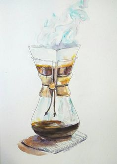Chemex on a knitted table mat original watercolor by orangerinka Mural Cafe, Coffee Doodle, Watercolor Paintings, Original Paintings, Coffee Wall Art, Coffee Icon, Coffee Tattoos, Coffee Painting, Art Deco Posters