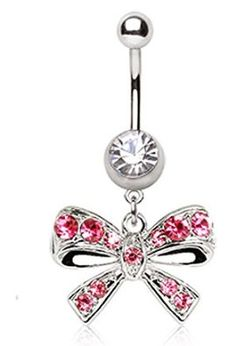 Amazon.com: Fancy Pink Bow Tie CZ Navel Ring Gem Paved Belly Button Piercing