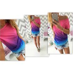 New Fashion 2017 summer women t-shirt Gradient rainbow gradual change print O-neck short sleeve tee shirts tops female