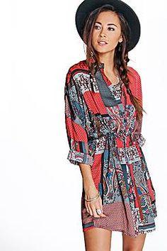 Millie Robe Chemise En Patchwork Motif Cachemire
