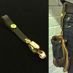 Handmade glove clips. Copper sprung clip, leather strap and brass popper. £12.99…
