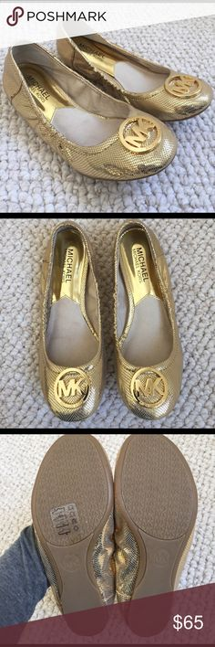 MICHAEL KORS Gold Baller Flats Size 5.5 Like new condition! These have hardly been worn. Minimal wear on soles and only one mark on the shoe upper (as pictured in last photo) Barely noticeable. Very vibrant gold color! MICHAEL Michael Kors Shoes Flats & Loafers