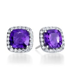 Mark Patterson - Aura Collection 18K White Gold Amethyst & Diamond Stud Earrings