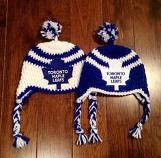 Twins/ Siblings/ Father and Son Handmade Toronto Maple Leafs Crochet Hat with NHL Patch/ Photo Prop (newborn-adult: made to order) Crochet Cap, Crochet Mittens, Crochet Baby Hats, Baby Blanket Crochet, Baby Knitting, Knitted Hats, Crochet Blankets, Crochet Pattern, Blue And White Hats