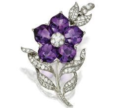 Amethyst And Diamond Flower Brooch, Mounted In Platinum, By Bailey, Banks & Biddle   c.1950  -  Sotheby's