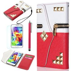 ULAK Rivet PU Leather Wallet Case for Samsung Galaxy S5 SV with Card Slots and Zipper + Wrist Strap (White/Red) ULAK http://www.amazon.com/dp/B00KD7UROO/ref=cm_sw_r_pi_dp_pV6Vtb06F1WMRR7X