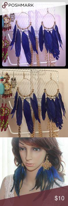 Boho Blue feather earrings Beautiful blue color statement earrings festival ready. Last picture is just showing style. Jewelry Earrings