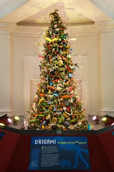 The 2014 Origami Holiday Tree at the American Museum of Natural History.