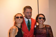 Caterina and Cecilia Negra with Lapo Elkann at #THEPINKOINVASION #sunglasses collection launch event #PINKO #MFW #SS16