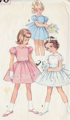 Vintage Sewing Patterns Vintage Simplicity 4870 Girls One-Piece Vintage Dress Sewing Pattern Child Size 4 Breast 23 F - Vintage Girls Dresses, Vintage Dress Patterns, Little Girl Dresses, Vintage Outfits, Vintage Fashion, Dress Vintage, 1960s Dresses, Rangers, Girls Party Dress