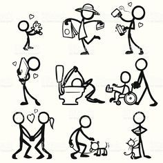 Stickfigures In A Variety Of Relationships Teddy Love Shopping Notas De Dibujo Figura Con Palos Dibujos Sencillos