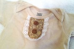 Vintage inspired tea stained onesie 12 months by GracieButtons