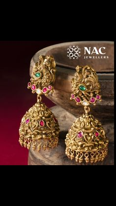 Gold Jhumka Earrings, Gold Earrings Designs, Gold Jewellery Design, Antique Earrings, Gold Jewelry, Indian Wedding Jewelry, Bridal Jewelry, Trendy Jewelry, Fashion Jewelry