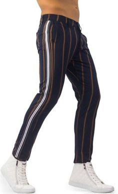 Looking for mens navy vertical striped pants? Shop Differio for casual slim fit navy vertical striped pants for men with side stripes. Buy patterned pants here! Stylish Mens Fashion, Korean Fashion Men, Korean Men, Men Fashion, Patterned Pants, Striped Pants, Nike Socks Women, Men Trousers, Young Men