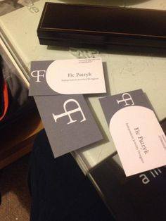 Home made business cards, my printer not so great as it made the dark colour really light.