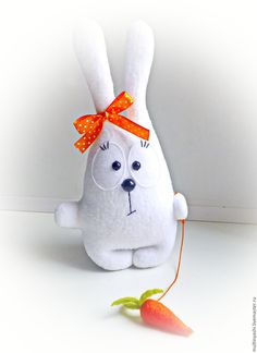 cute bunny with ♥ Animal Sewing Patterns, Stuffed Animal Patterns, Doll Patterns, Baby Sewing Projects, Sewing For Kids, Sewing Crafts, Sock Crafts, Felt Crafts, Fabric Toys
