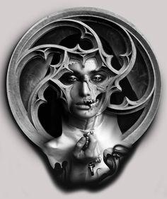 Kunst Tattoos, Body Art Tattoos, Sleeve Tattoos, Dark Fantasy Art, Dark Art, Tattoo Sketches, Tattoo Drawings, Mago Tattoo, Arte Zombie