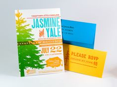 Such pretty colors and textures in this Jasmine & Yale Wedding Invitation