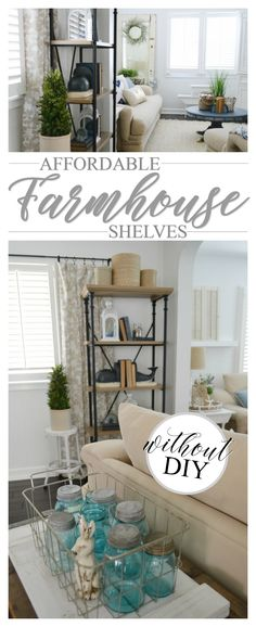 This one is a must-share because I can't keep these affordable Farmhouse Shelves (with) no DIY required all to myself. You guys are gonna…