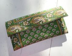 Boho Green and Yellow Clutch by AnnabelleMB on Etsy, $18.00.