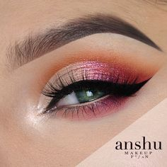 Sunset Cut Crease Makeup Tutorial by Anshu. Makeup Geek Eyeshadow in Latte, Mirage and Morocco. Makeup Geek Gel Liner in Immortal.