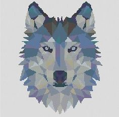 Counted Cross Stitch Pattern or Kit, Animal, Geometric wolf, wolf cross stitch