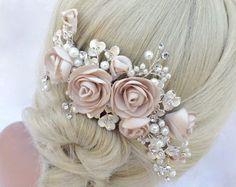 Perla y cristal nupcial peine del pelo peine del pelo de la