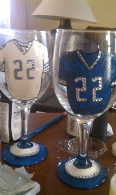 Football jersey glasses..of course for a girl, I added swavorski crystals! (Dallas Cowboy colors!)