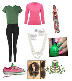 """""""Alpha Kappa Alpha inspired outfit"""" by goddessjackson on Polyvore featuring RE/DONE, Anne Klein, M&Co and Topshop"""