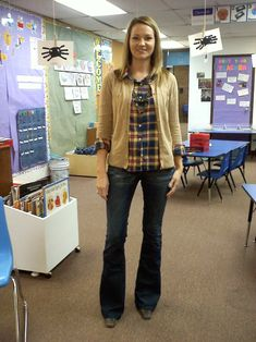 Teacher clothing blog. She tells where clothes came from too!... I really like this top & cardigan.