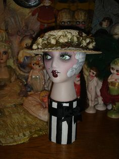 Flapper Mannequin Head Vintage Smoking Boudoir Doll Style White Haired  Hat Display. $175.00, via Etsy.