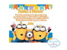 Despicable Me MINIONS Thank you cards   Birthday by FiestaPrint